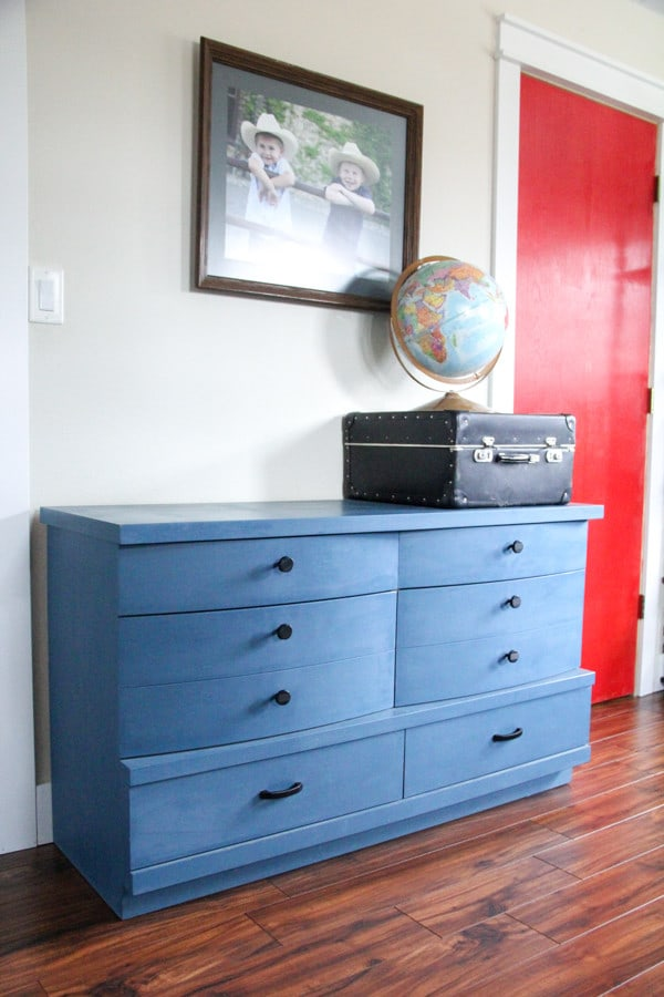 Blue Painted Dresser in Boys Room