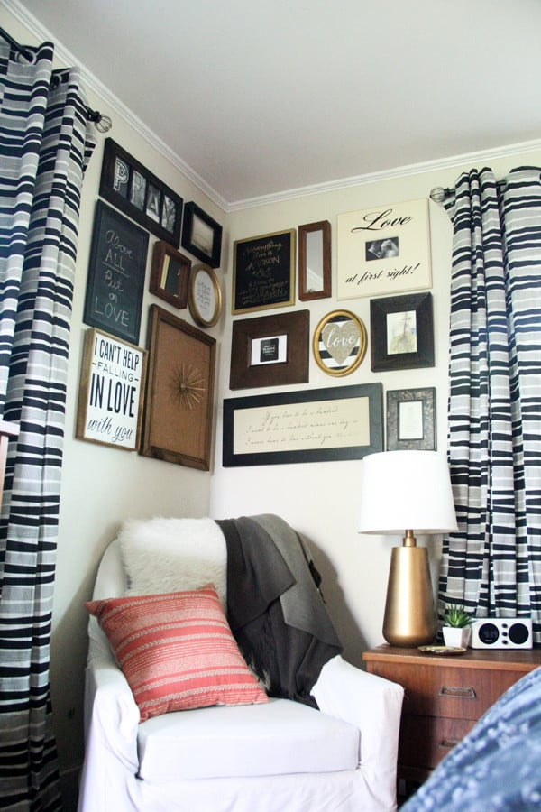 Black and White Master Bedroom Gallery Wall