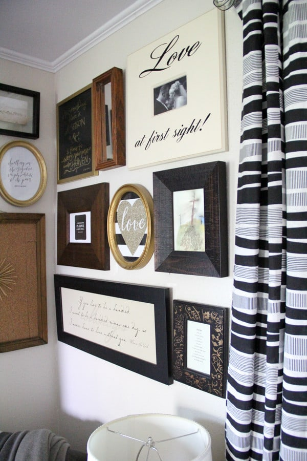 Black and White and Wood and Gold Gallery Wall
