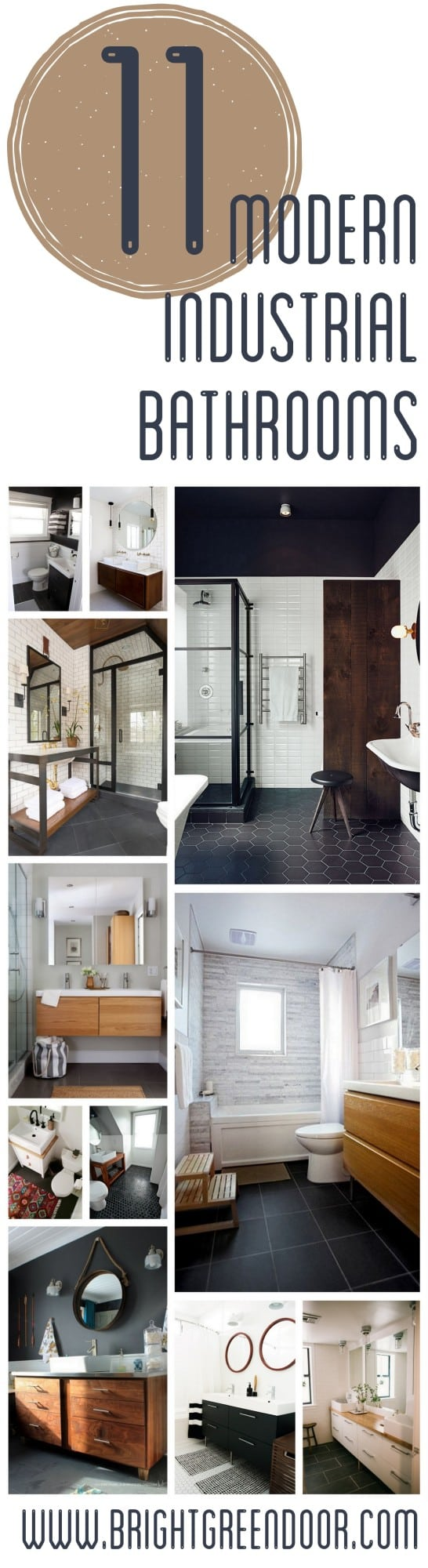 Moder Industrial Black Wood and White Bathrooms