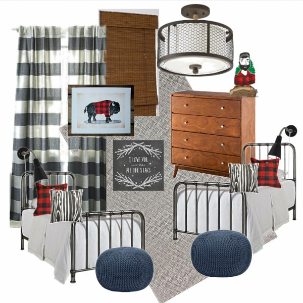 Modern Shared Boy Room: Vintage Mod Lumberjack Boys Room