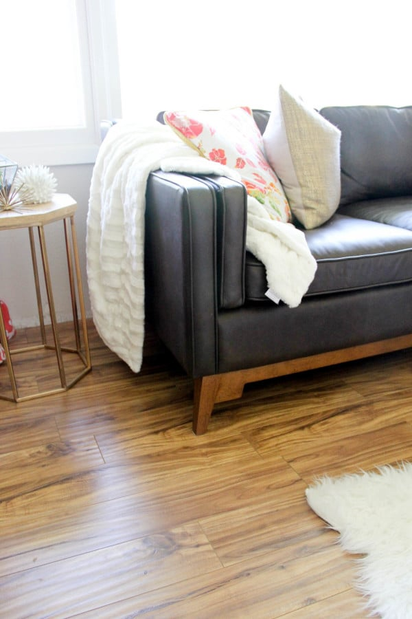 Brown and Wood Leather Vintage Mid Century Couch
