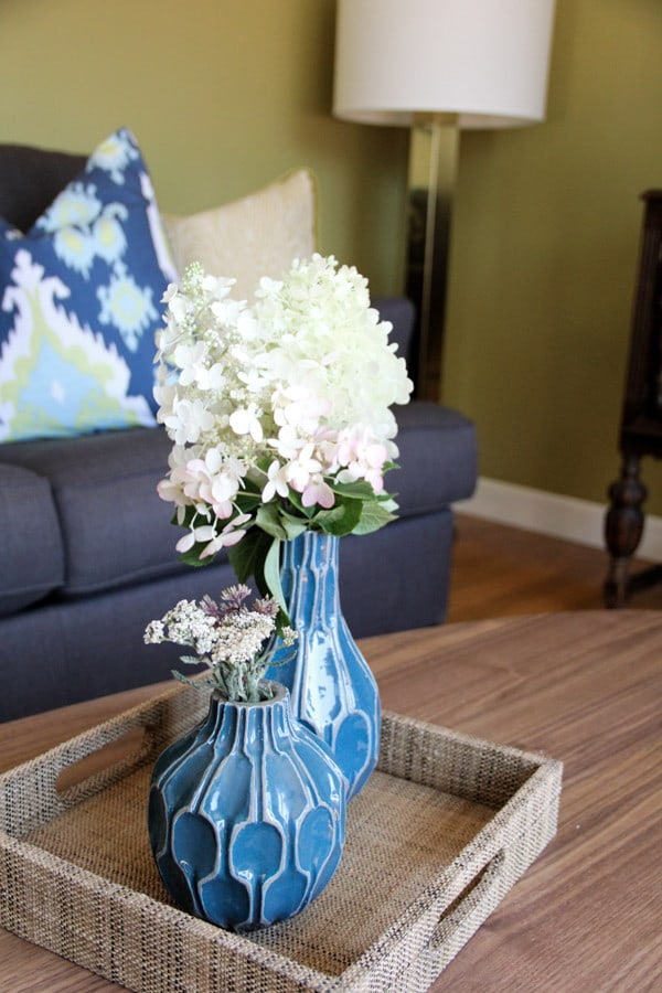 West Elm Vases in Modern Living Room