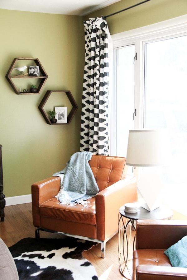Modern cowboy living room bright green door for Cowboy living room decorating ideas