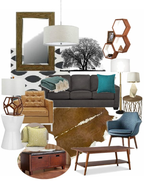 Modern Cowboy Living Room Mood Board