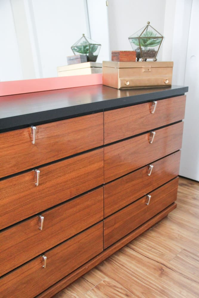 Wood and Black Dresser
