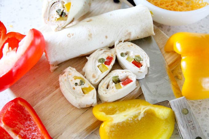 Red Pepper and Dilly Bean Tortilla Roll Up