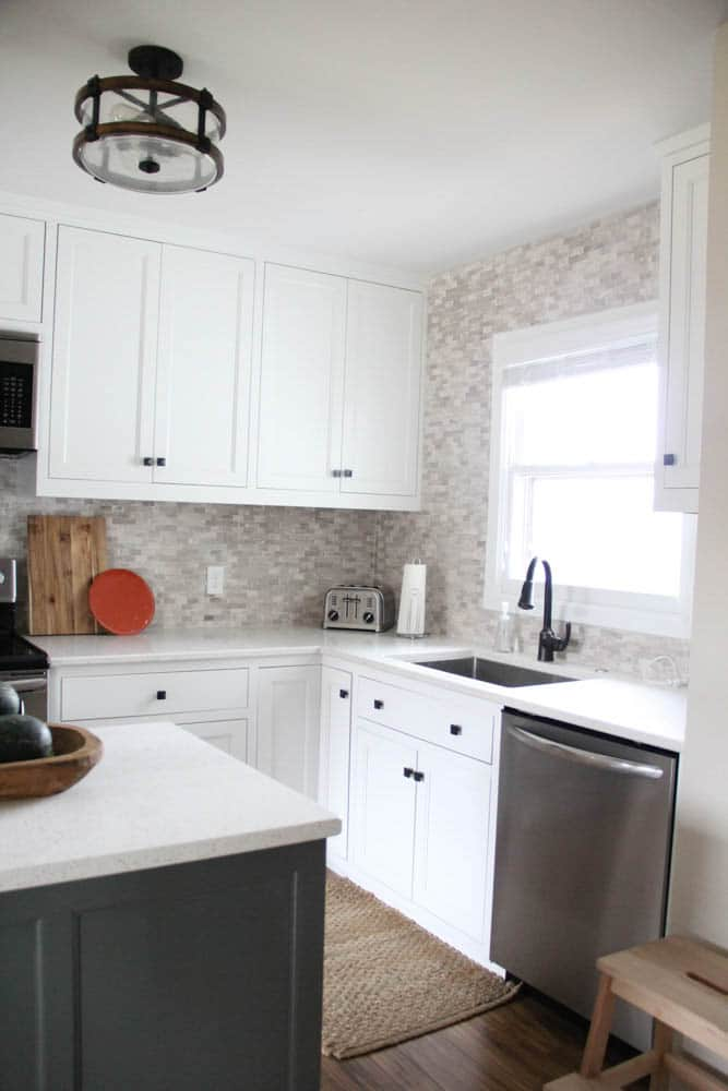 Kitchen with Gray Stone Mosaic Tile Backsplash