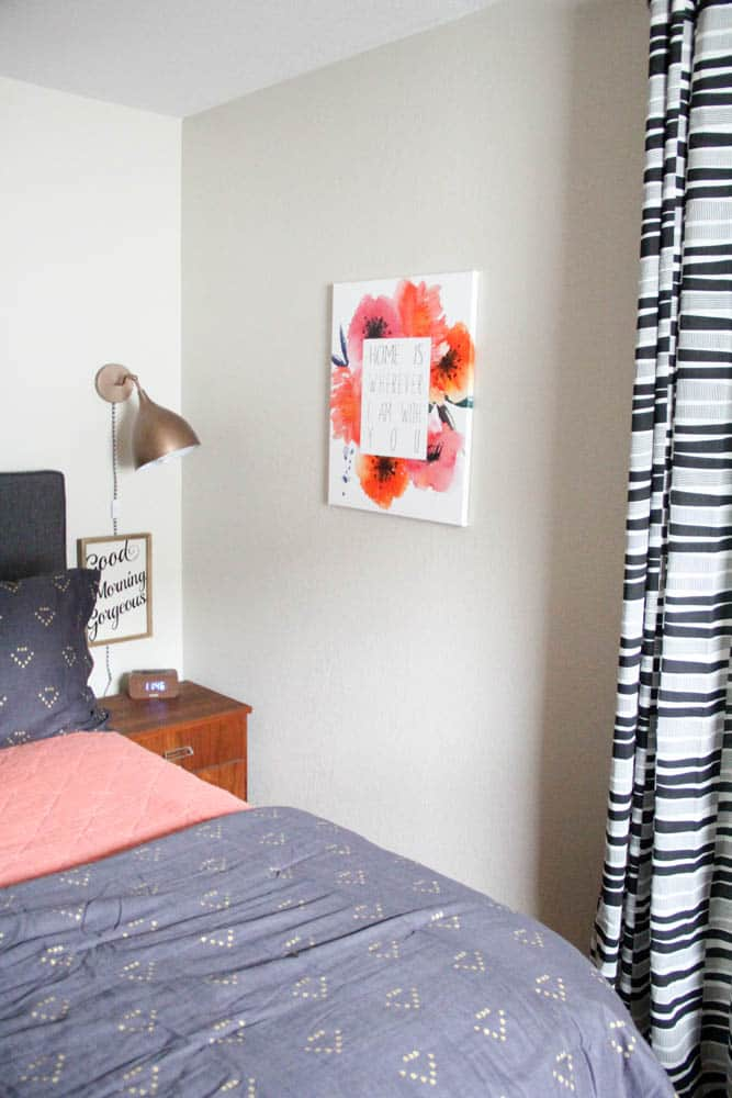 Coral, Black, Gold, and White Bedroom