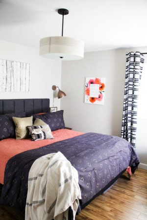 Mid Century Bedroom with Black and Coral