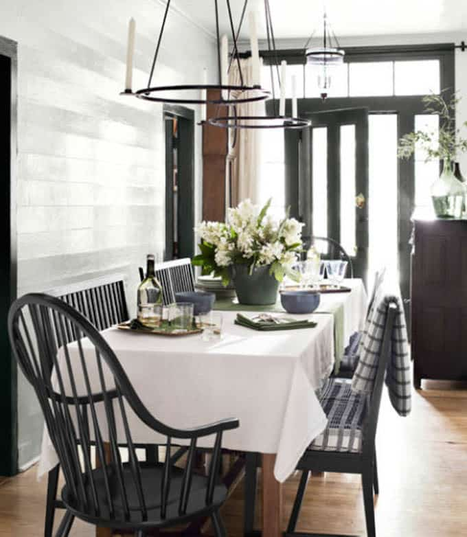 Black Windsor Chairs in Modern Dining Room