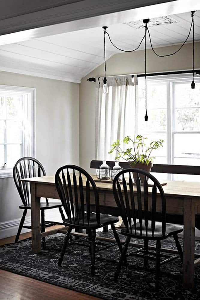 Black Windsor Chairs Modern Dining Room