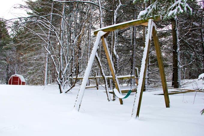 Snowy Swing in Winter