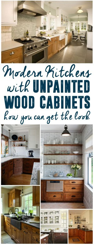 Modern Kitchens with Unpainted Wood Cabinets