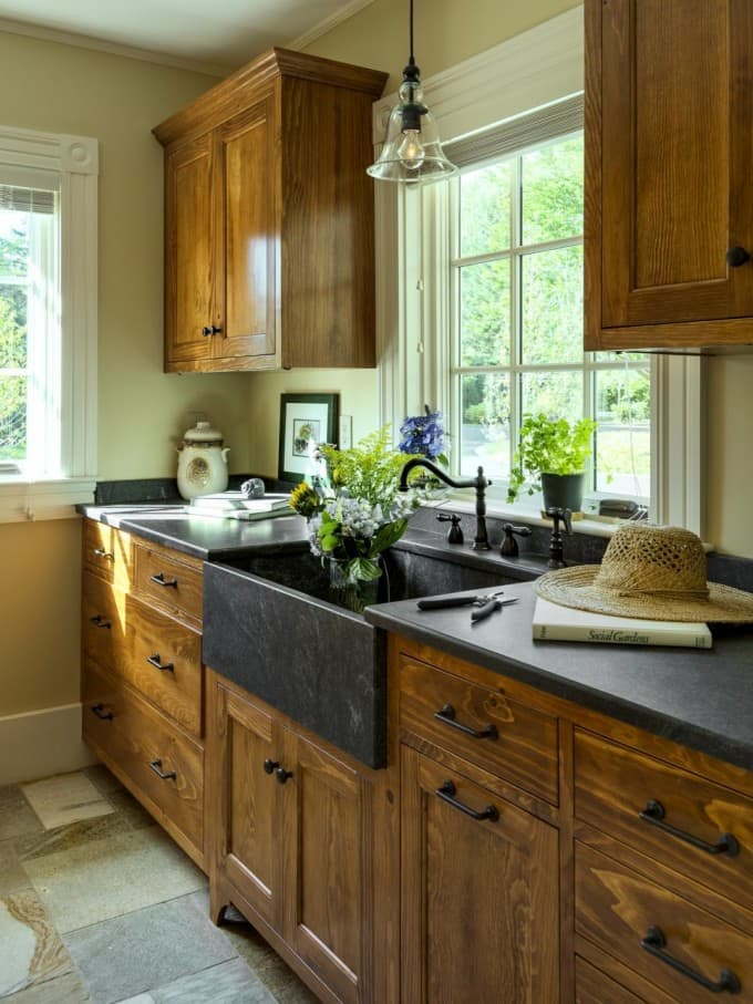 Modern Kitchens With Unpainted Cabinets Bright Green Door
