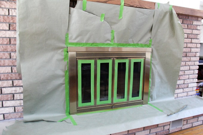 Spray Painting a Fireplace