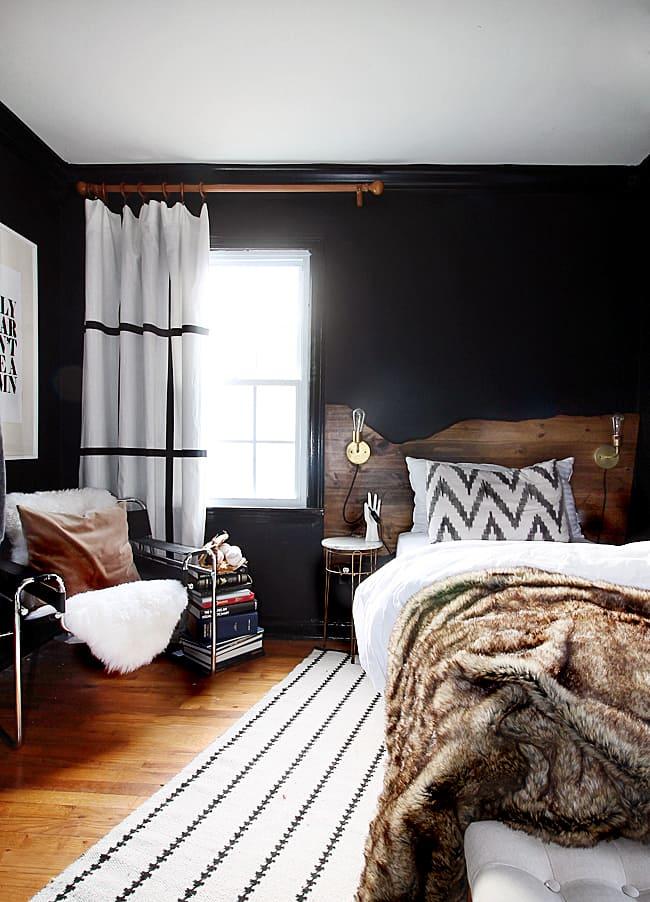 Beautiful Black Modern Bedrooms Bright Green Door