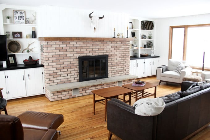Brick Fireplace with Spray Painted Insert