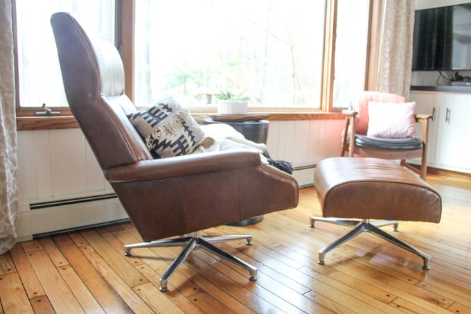Camel Leather Mid Century Chairs