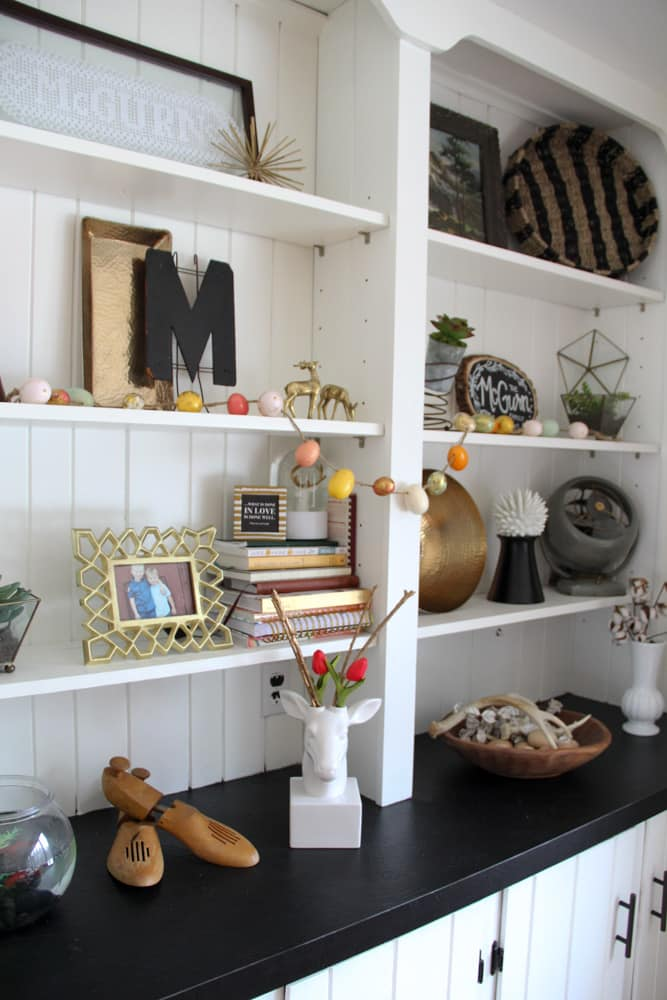 Modern Shelving Styled for Spring
