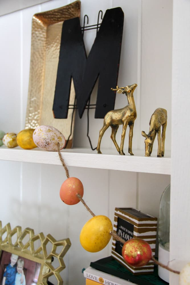Modern Shelf Styled with Spring Decor