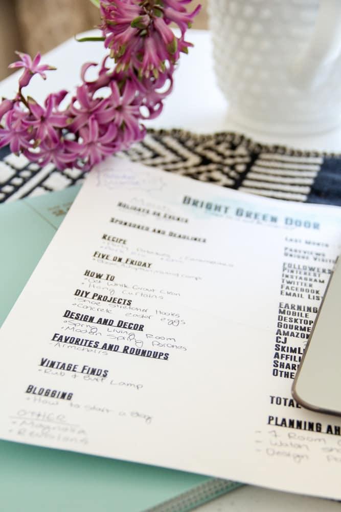 Blog Planning Sheet