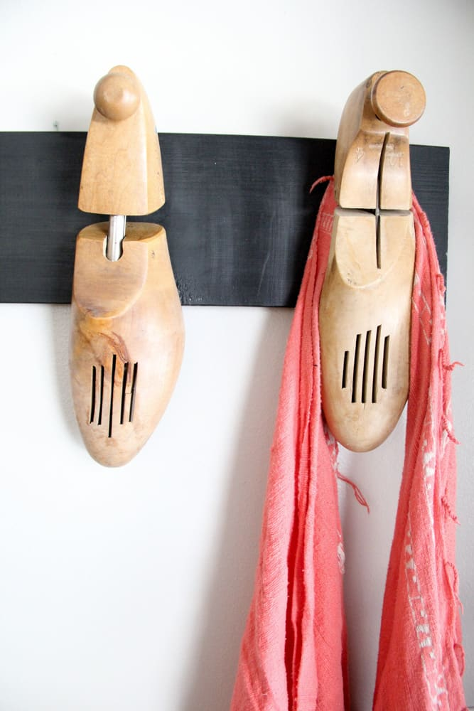 DIY Coat Rack from Wood Shoes