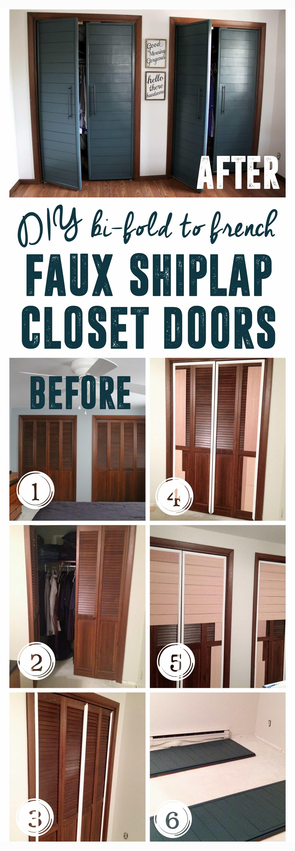 Bi fold to Faux Shiplap French Closet Doors Bright Green Door