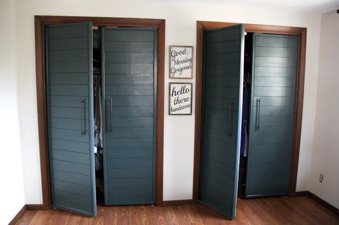 Diy Bi Fold Closet Door Makeovers Bright Green