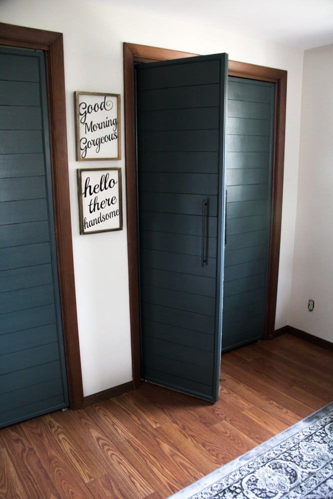 Faux Shiplap French Doors on Closet