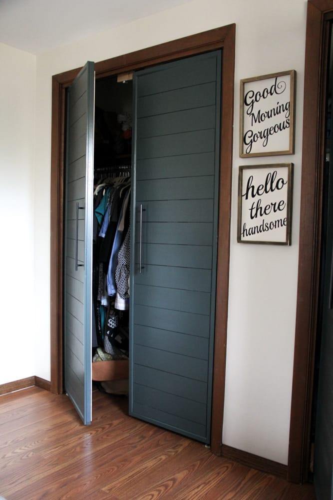. Bi fold to Faux Shiplap French Closet Doors   Bright Green Door