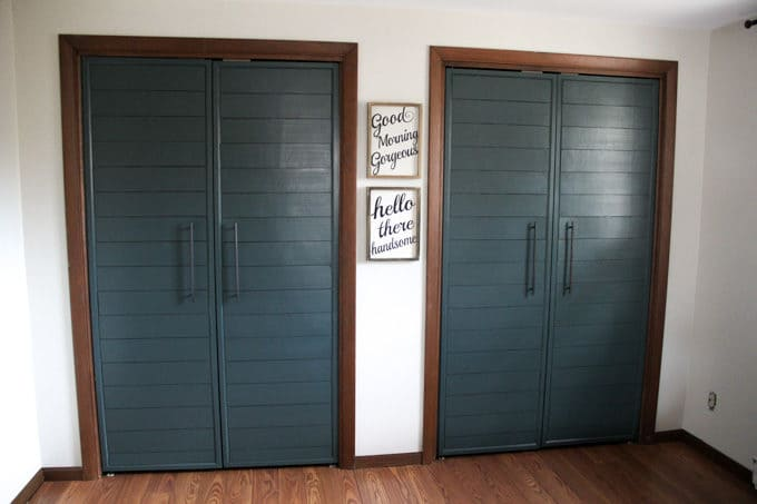 Bi Fold To Faux Shiplap French Closet Doors Bright Green Door