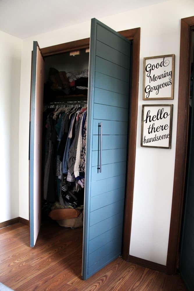Bi Fold To Faux Shiplap French Closet Doors Bright Green