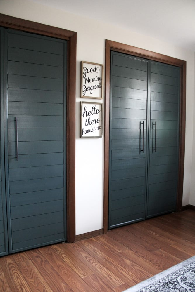 DIY Bi-Fold Closet Door Makeovers - Bright Green Door