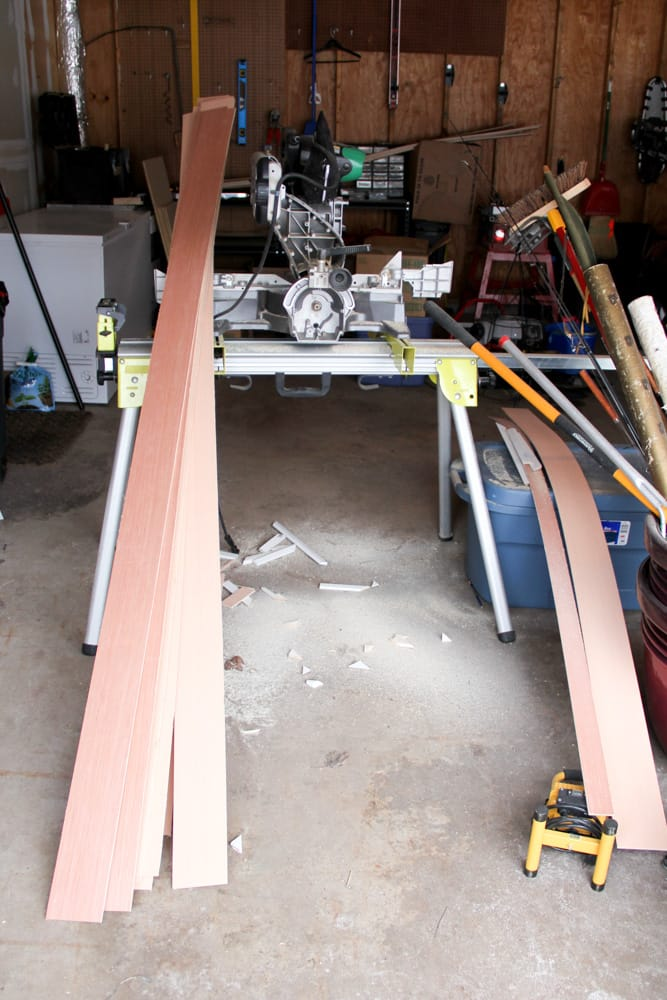 Strips of plywood for shiplap
