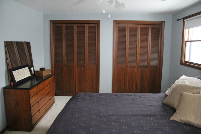 Wood Closet Doors in Master Bedroom