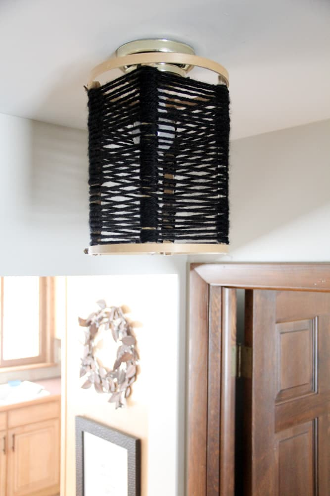 Wood and Yarn Light Fixture
