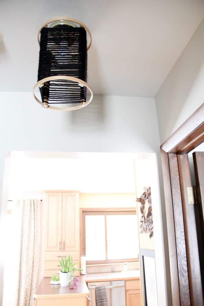 DIY Wood Hoop Light