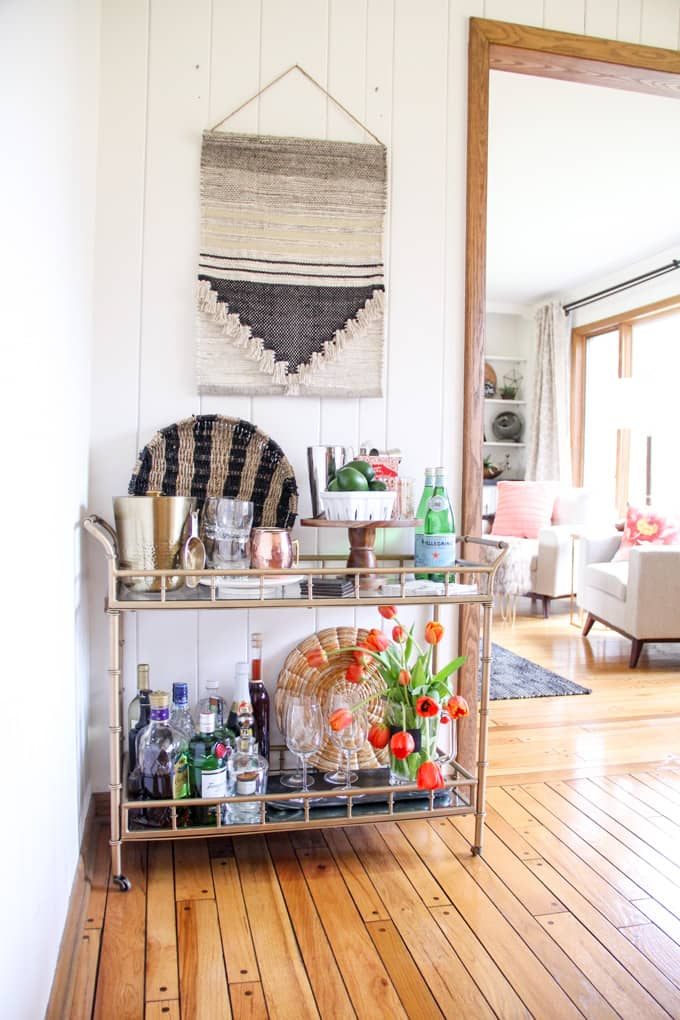 Styled Bar Cart in Dining Room