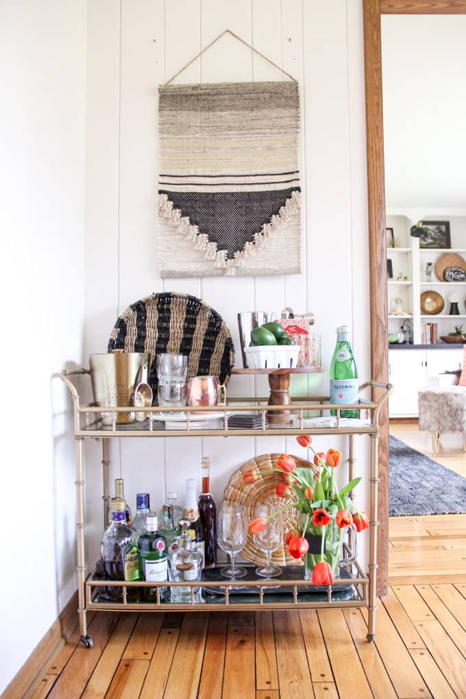 Styled Bar Cart with Modern Elements