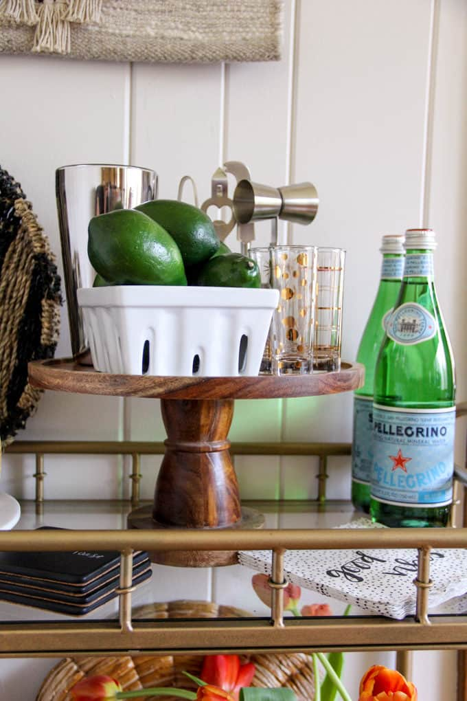 Green Accents for a Bar Cart