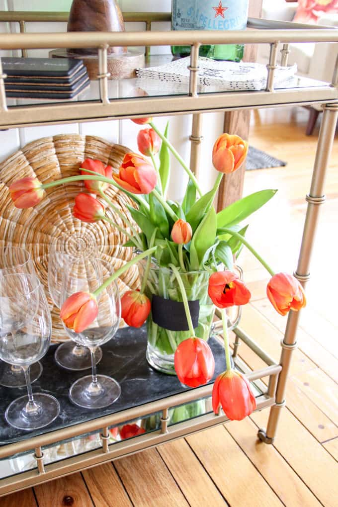 Flowers Styled on Bar Cart
