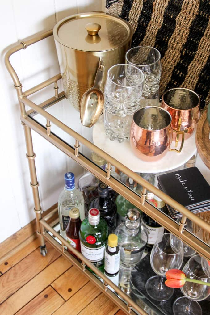 Marble and Copper on Modern Bar Cart