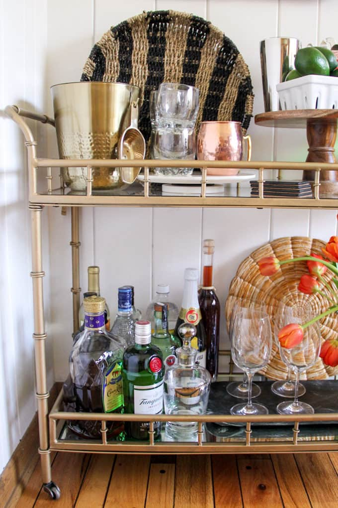 Bar Cart Styled with Liquor
