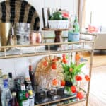 Gold Bamboo Bar Cart Styling