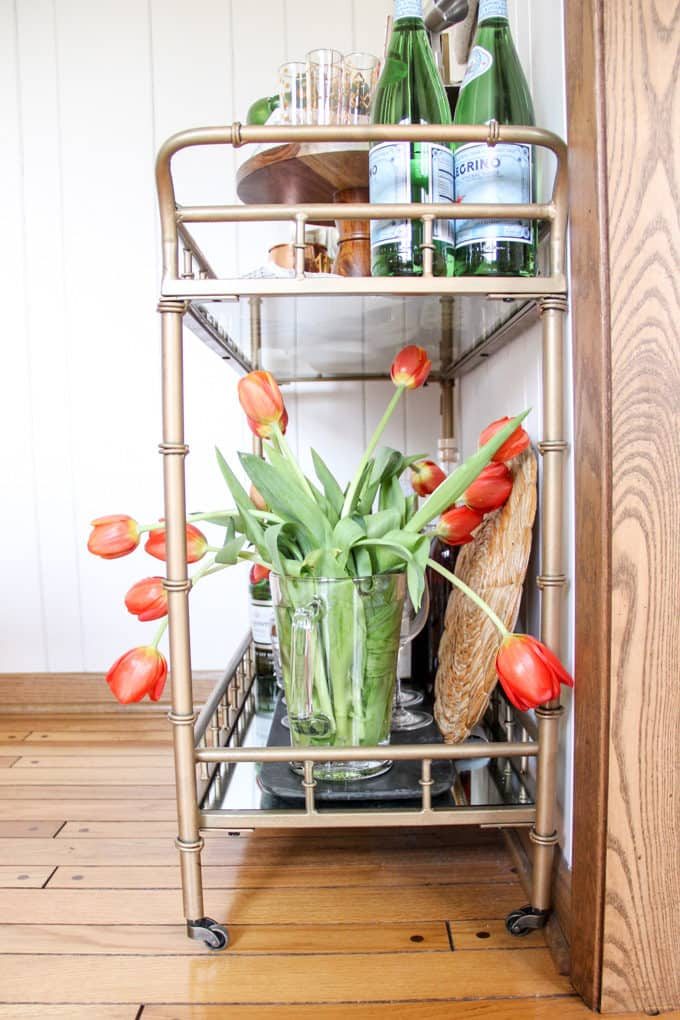 Bar Cart Styling with Flowers