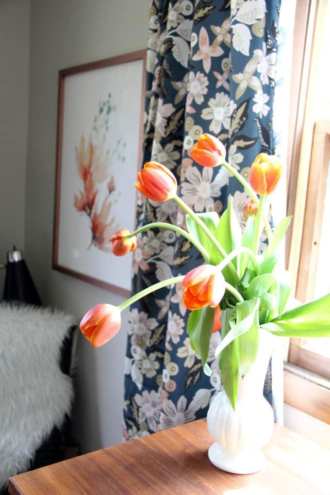 Tulips in Modern Bedroo