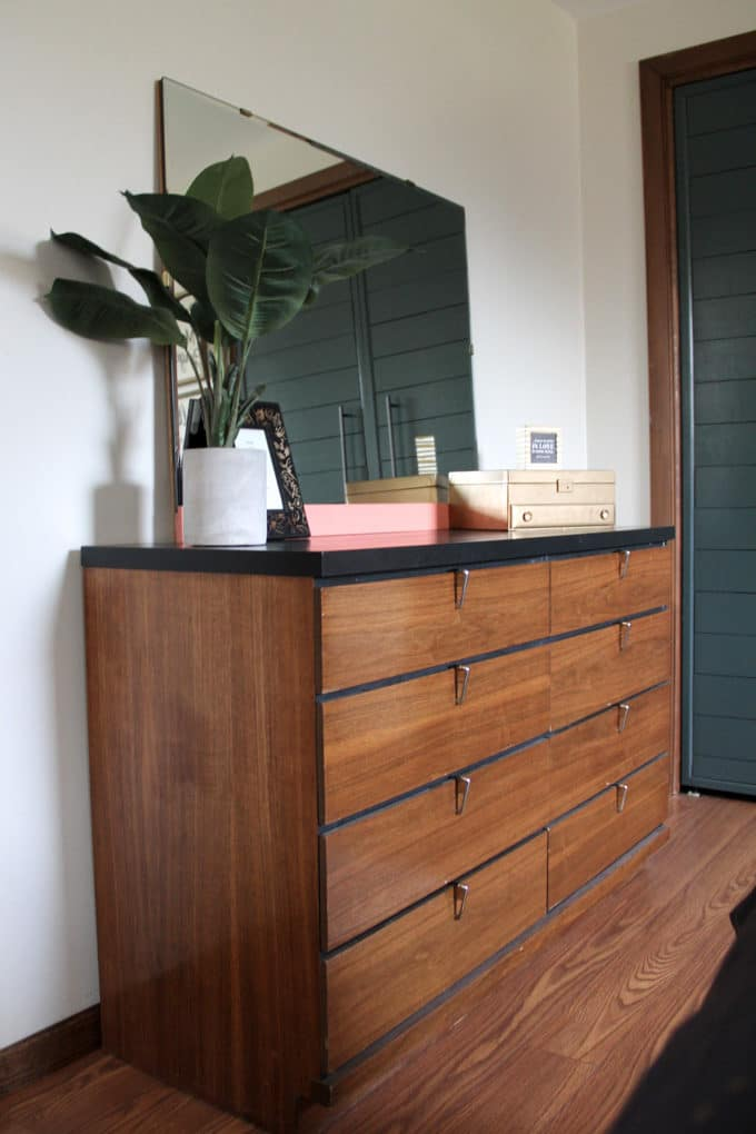 Mid Century Dresser with Black Top