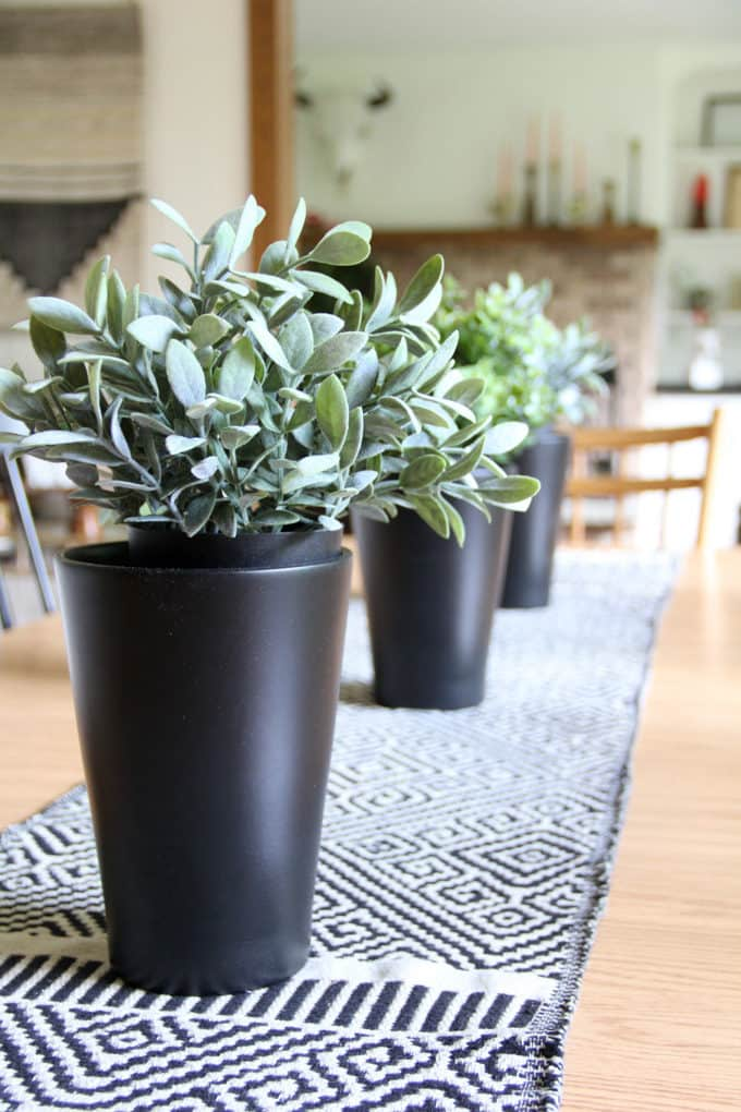 Ikea Black Pots with Faux Plants