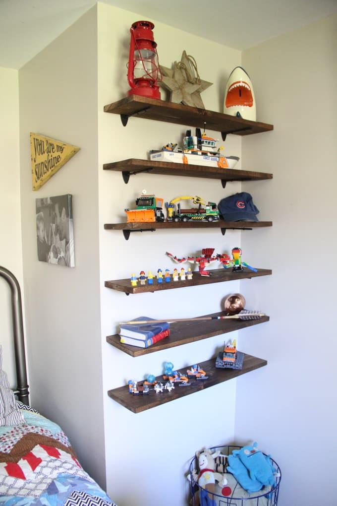 diy floating lego shelves bright green door. Black Bedroom Furniture Sets. Home Design Ideas